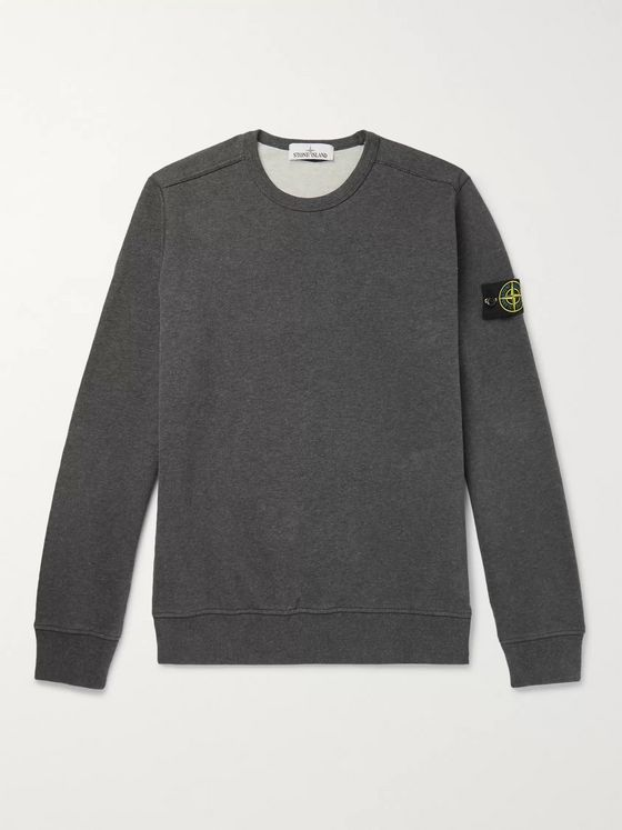 Stone Island Logo-Appliquéd Garment-Dyed Fleece-Back Brushed Cotton-Jersey Sweatshirt