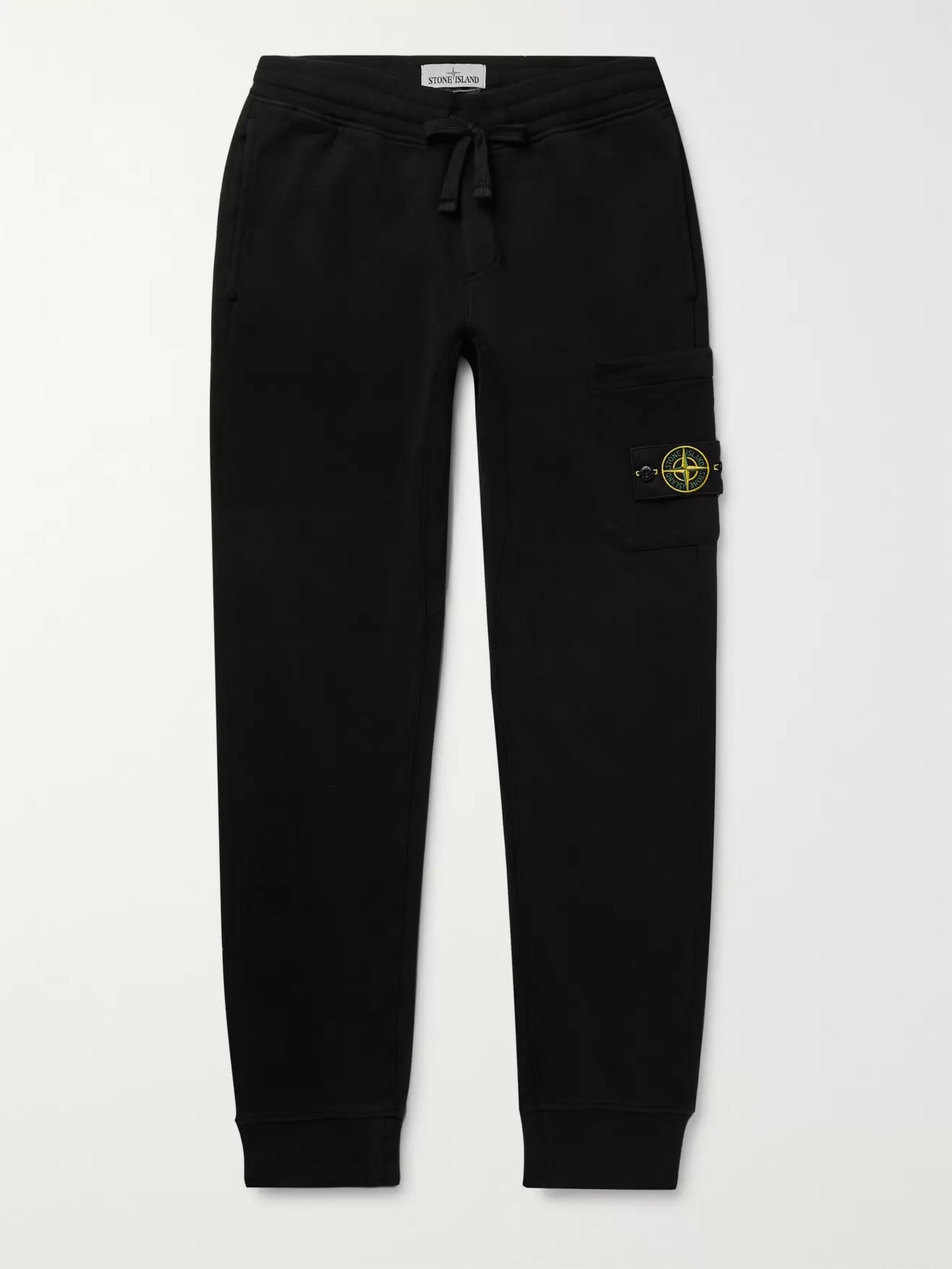 Stone Island Logo-Appliquéd Slim-Fit Tapered Fleece-Back Cotton-Jersey Sweatpants