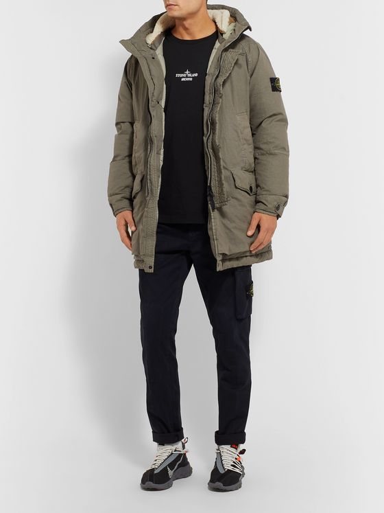 Stone Island Shearling-Trimmed Garment-Dyed Cotton-Blend Hooded Down Parka