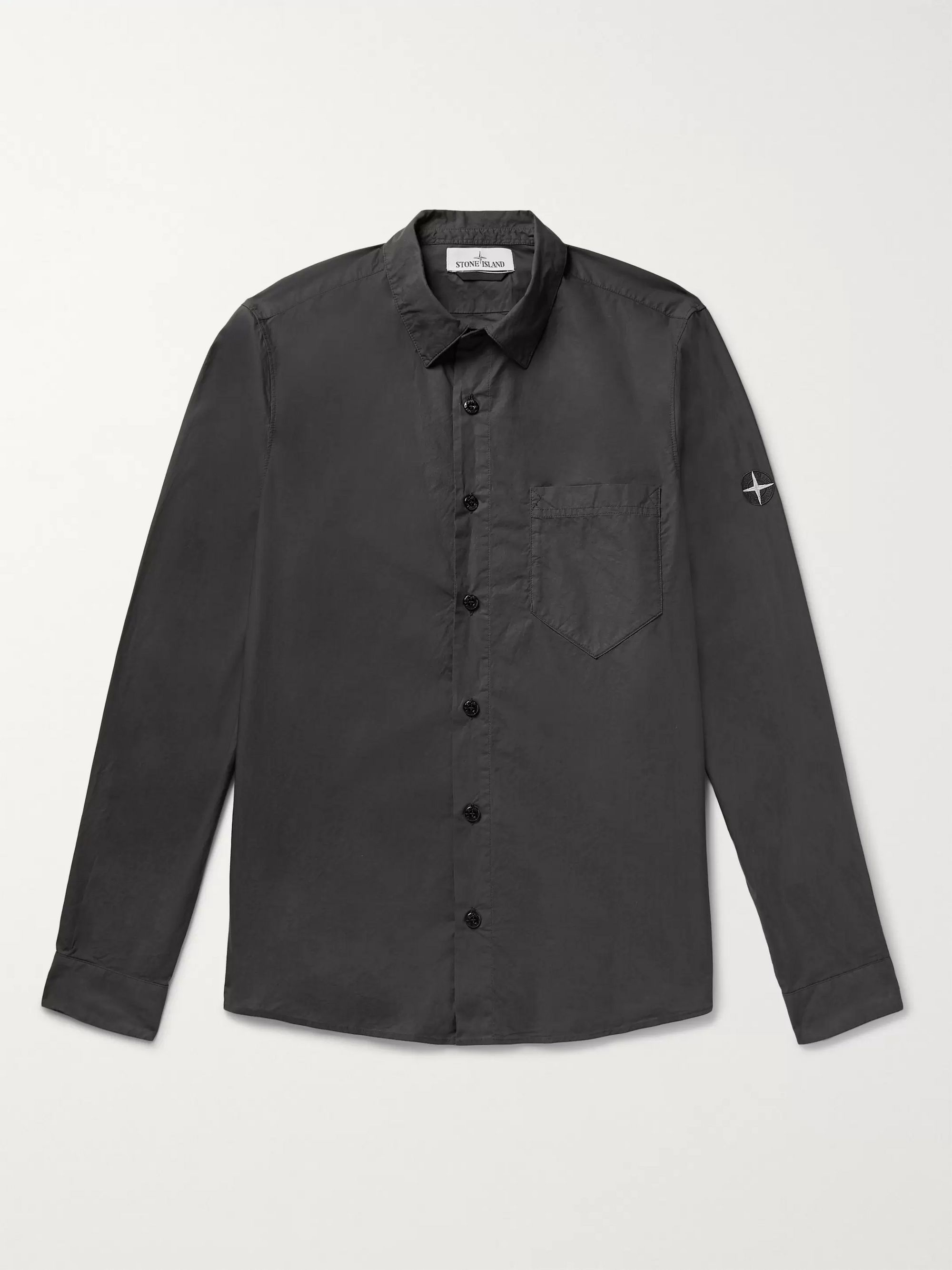 Stone Island Logo-Embroidered Garment-Dyed Cotton-Poplin Shirt