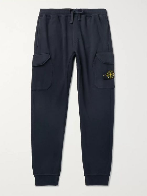Stone Island Tapered Logo-Appliquéd Fleece-Back Cotton-Jersey Sweatpants