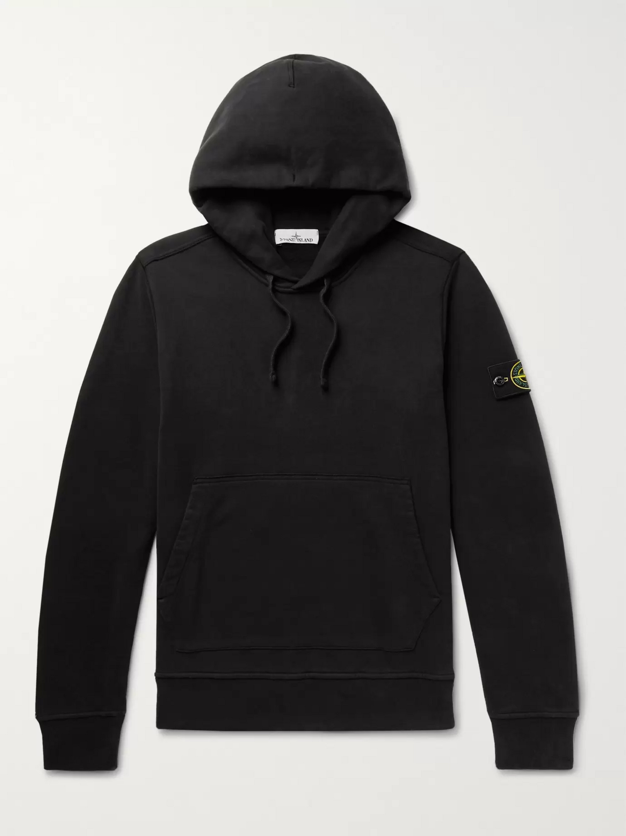 Stone Island Logo-Appliquéd Fleece-Back Cotton-Jersey Hoodie