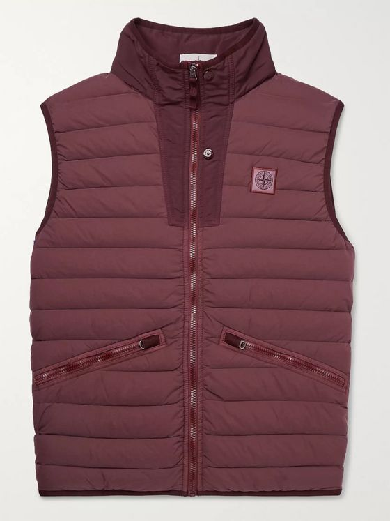 Stone Island Quilted Garment-Dyed Nylon Down Gilet