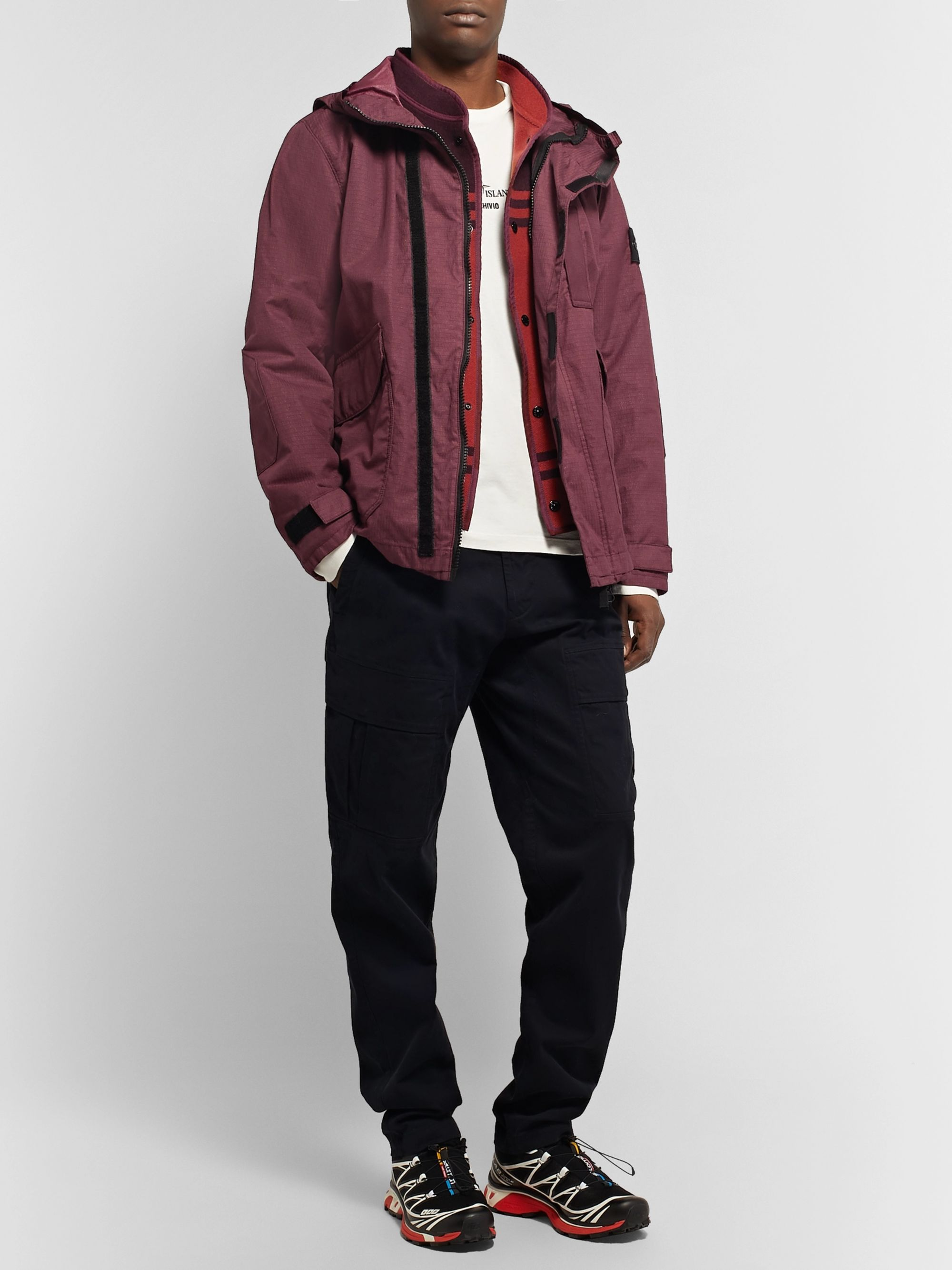 Stone Island Logo-Appliquéd Garment-Dyed Cotton-Blend Ripstop-TC Hooded Jacket