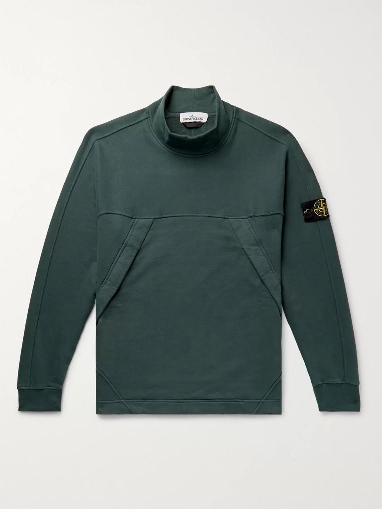 Stone Island Garment-Dyed Fleece-Back Cotton-Jersey Sweatshirt