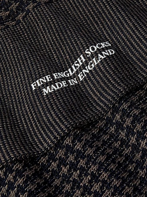 Pantherella Hatherley Houndstooth Merino Wool-Blend Socks