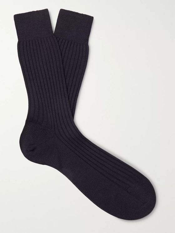 Pantherella Rutherford Ribbed Super 120s Merino Royale Wool-Blend Socks