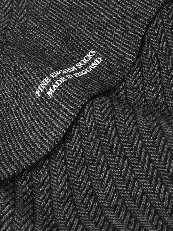 Pantherella Dagnall Striped Merino Wool-Blend Socks