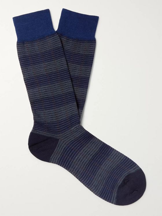 Pantherella Theed Striped Merino Wool-Blend Jacquard Socks