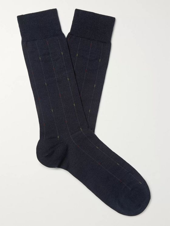 Pantherella Purcell Merino Wool-Blend Jacquard Socks