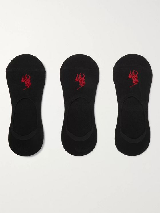 Polo Ralph Lauren Three-Pack Stretch Cotton-Blend No-Show Socks