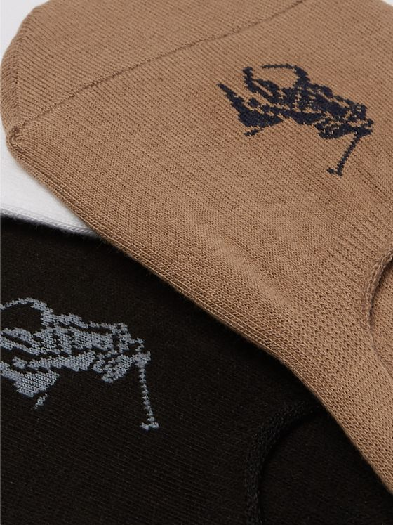 Polo Ralph Lauren Three-Pack Logo-Intarsia Stretch Cotton-Blend No-Show Socks