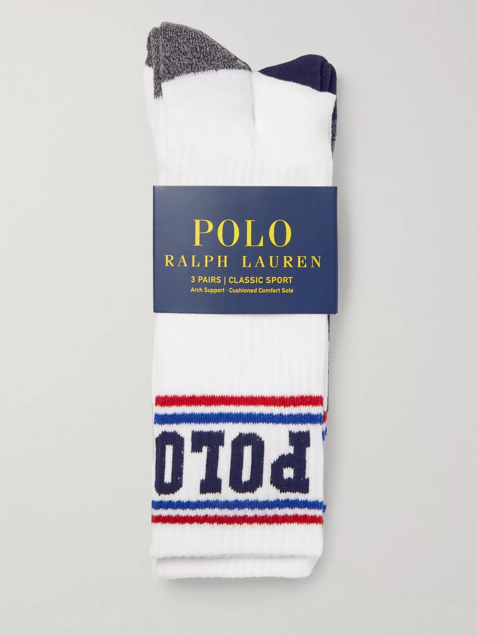 Polo Ralph Lauren Three-Pack Striped Stretch Cotton-Blend Socks