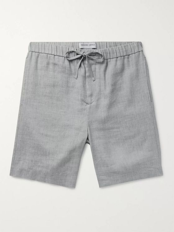 Frescobol Carioca Felipe Mélange Linen and Cotton-Blend Drawstring Shorts