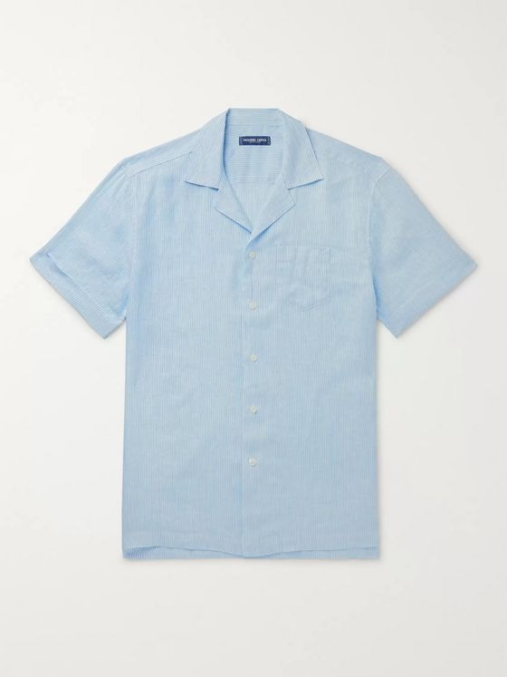 Frescobol Carioca Thomaz Camp-Collar Striped Linen Shirt