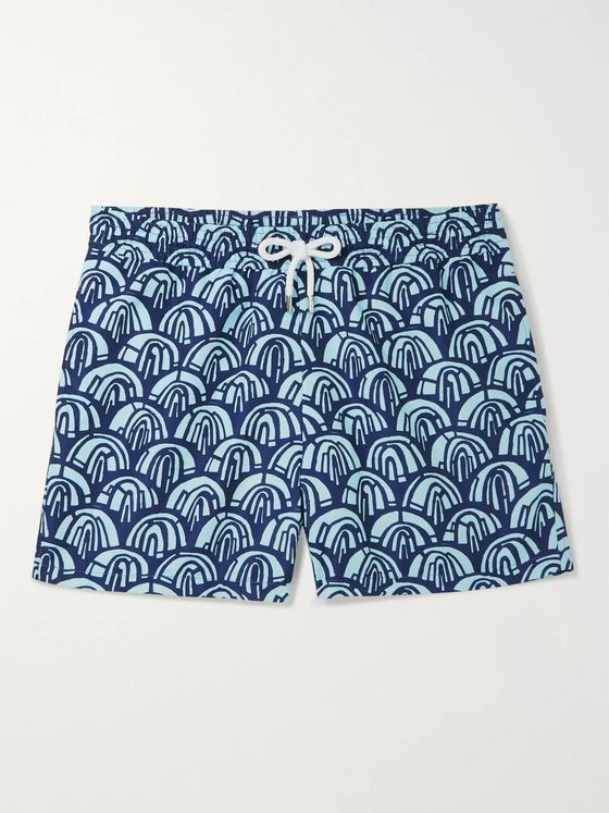 Frescobol Carioca Arch Wide-Leg Short-Length Printed Swim Shorts