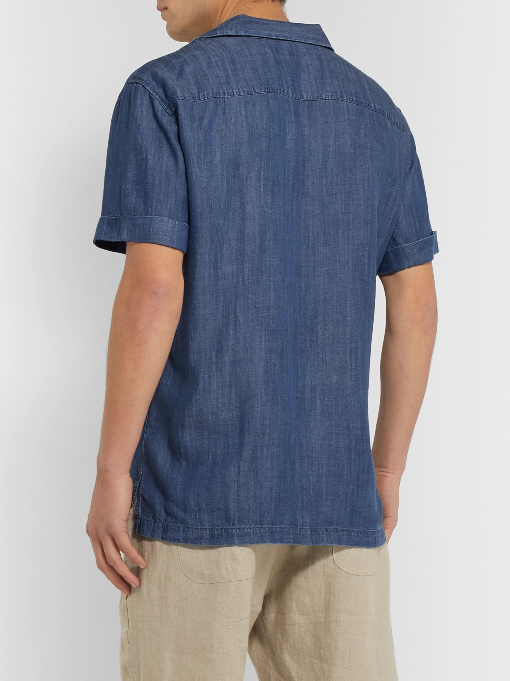 Frescobol Carioca Thomaz Camp-Collar Tencel-Chambray Shirt