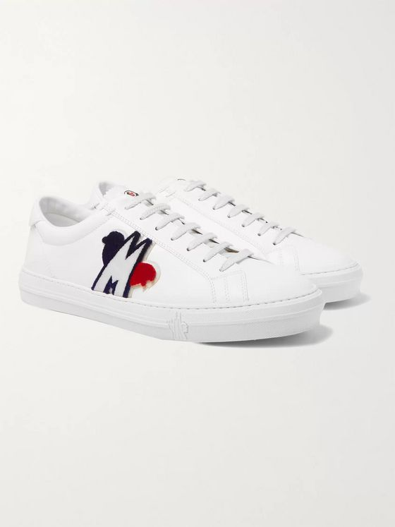 Moncler New Monaco Logo-Appliquéd Leather Sneakers