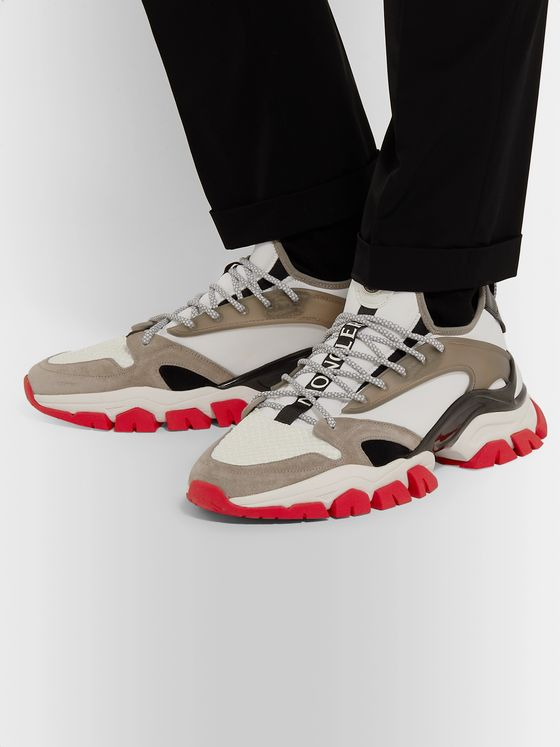 Moncler Trevor Suede, Mesh and Neoprene Sneakers