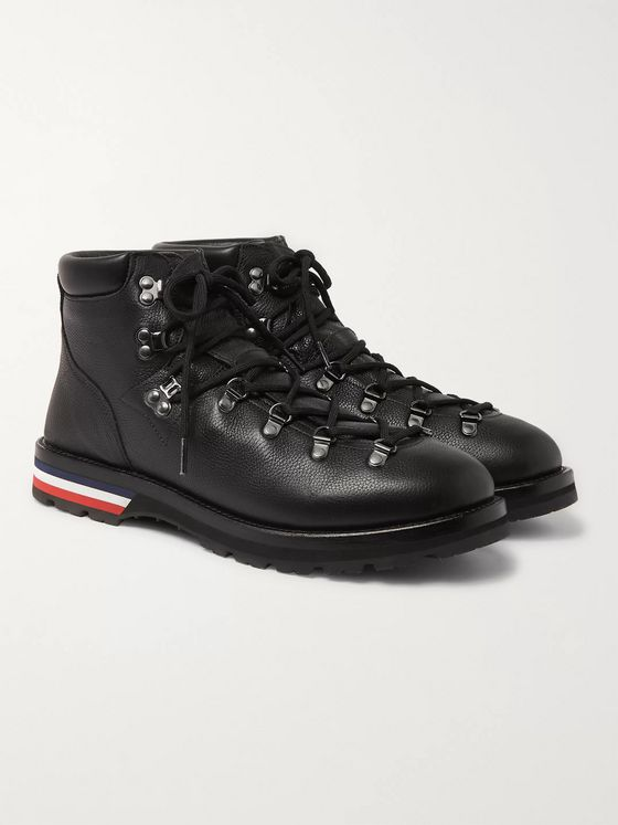 Moncler Peak Pebble-Grain Leather Hiking Boots