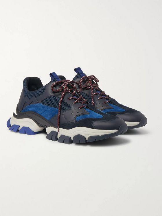 Moncler Terrence Suede, Leather and Mesh Sneakers