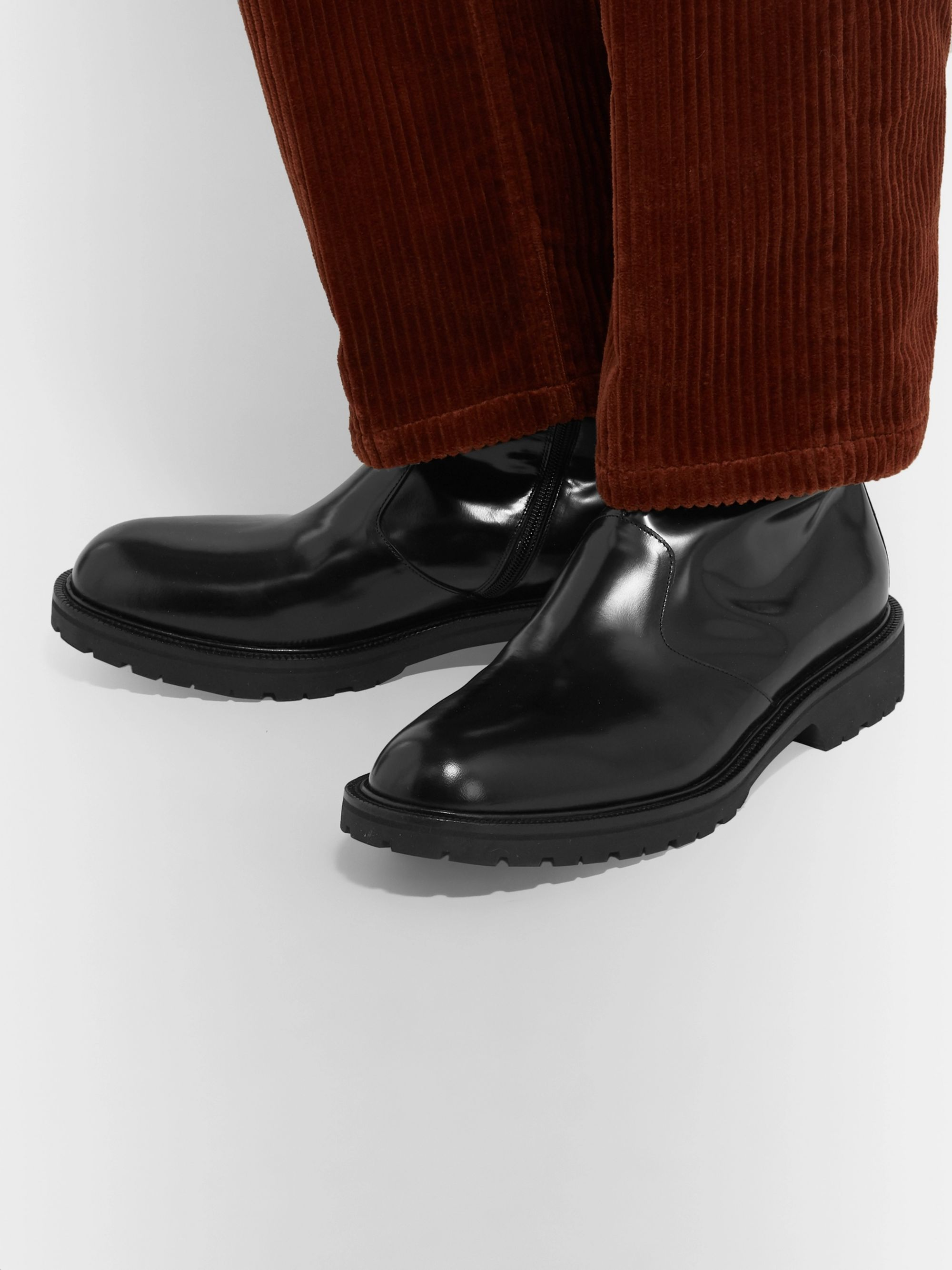 Dries Van Noten Polished-Leather Boots