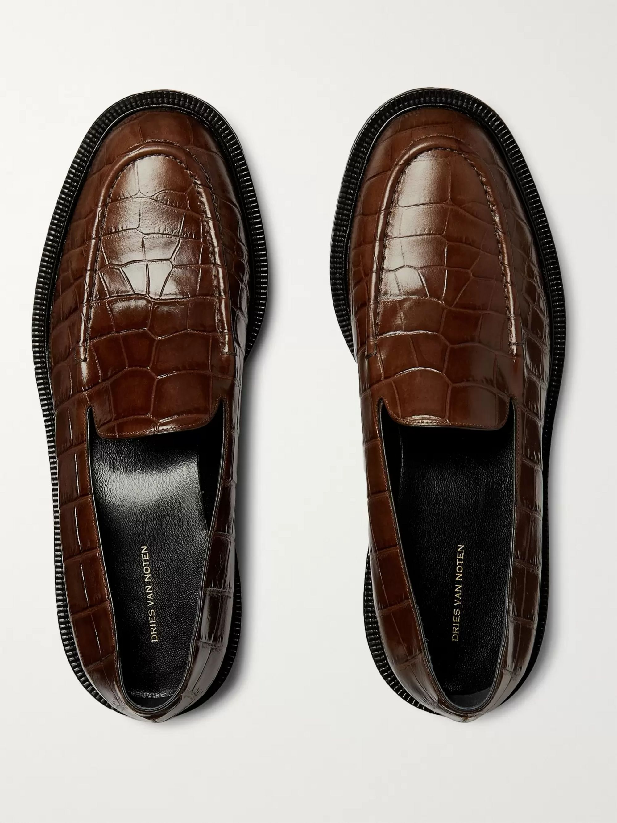 Dries Van Noten Croc-Effect Leather Loafers