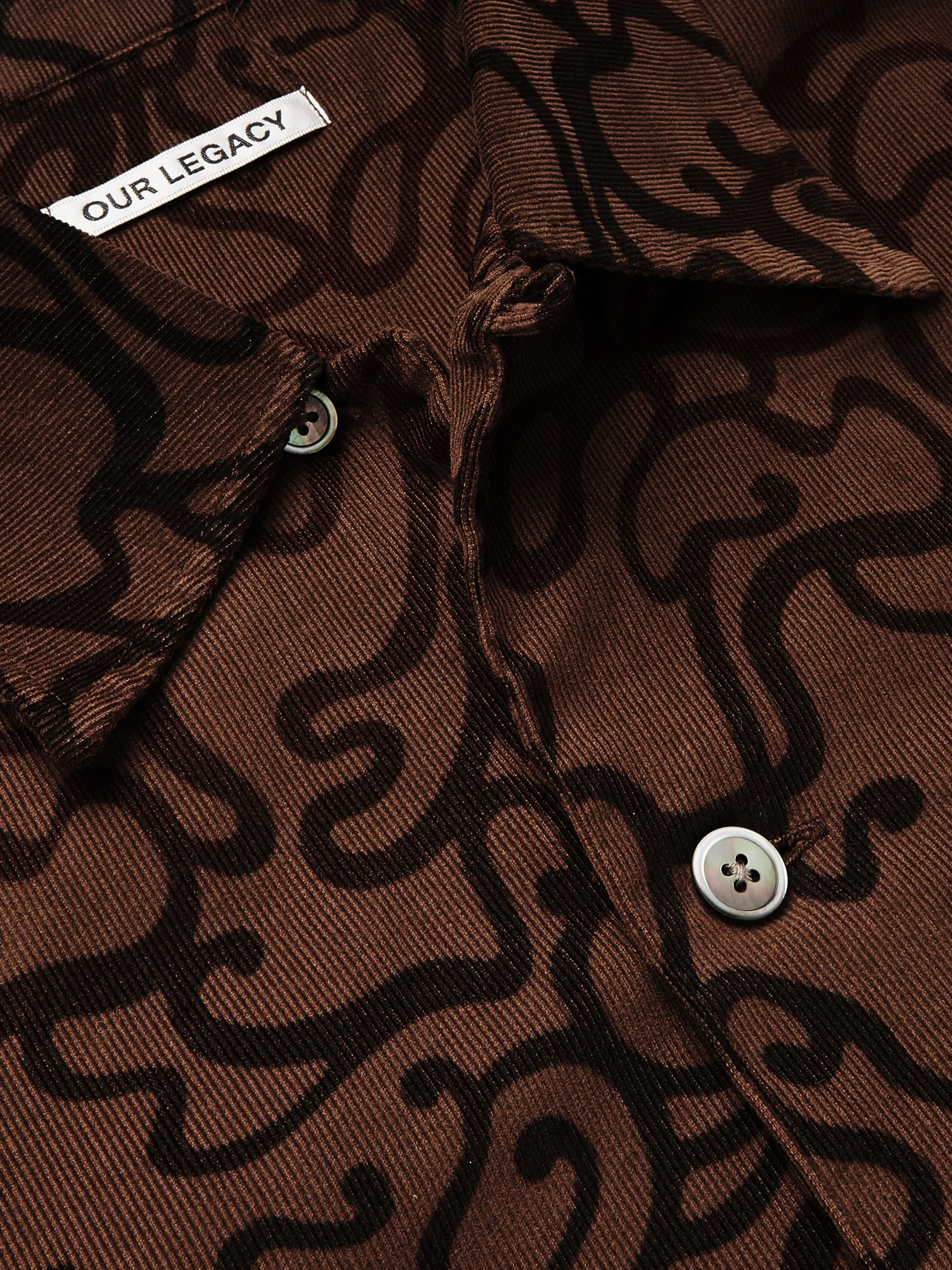 Our Legacy P.X. Evening Camp-Collar Printed Cotton-Corduroy Shirt