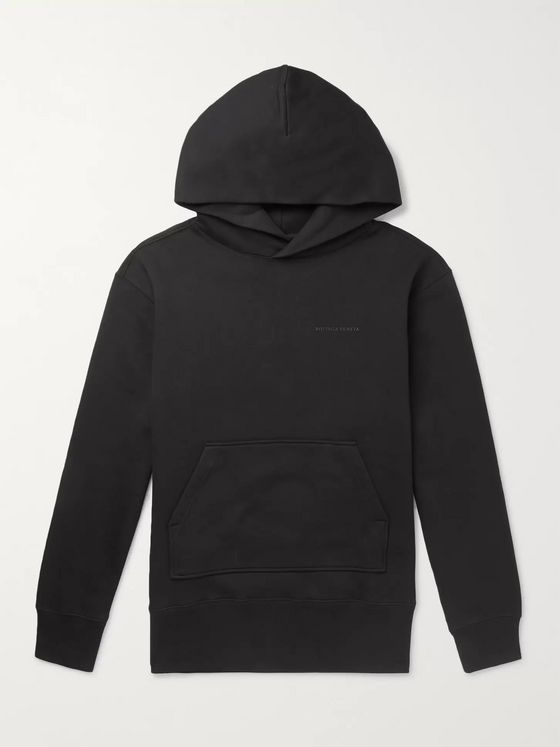 Bottega Veneta Logo-Print Fleece-Back Cotton-Blend Jersey Hoodie