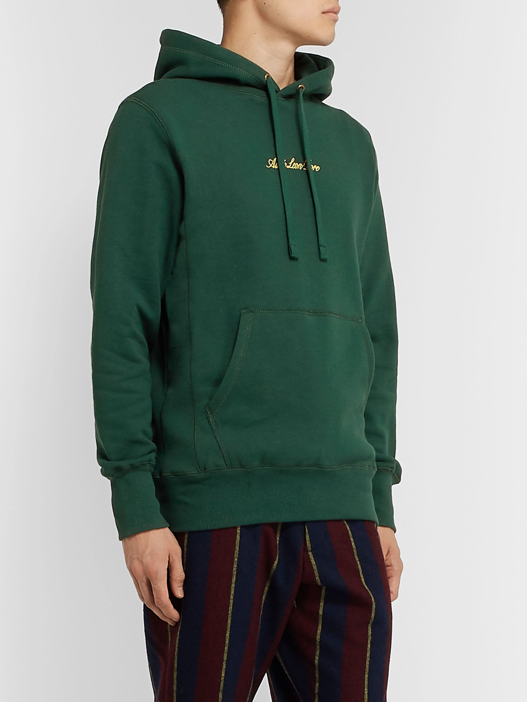 Aimé Leon Dore Slim-Fit Logo-Embroidered Loopback Cotton-Jersey Hoodie