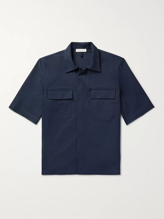 Bottega Veneta Camp-Collar Cotton Shirt