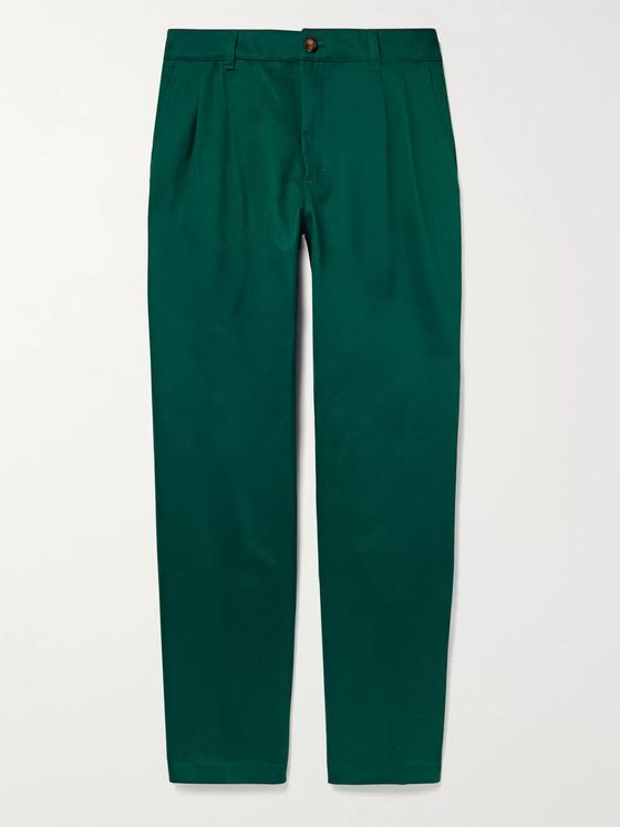 Aimé Leon Dore Tapered Pleated Cotton-Twill Trousers