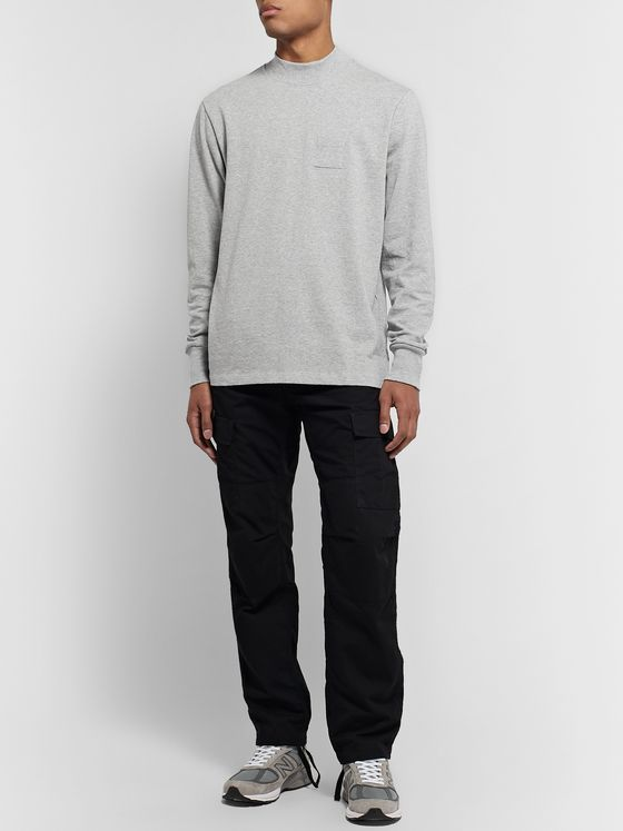 Aimé Leon Dore Mélange Cotton-Jersey Mock-Neck T-Shirt