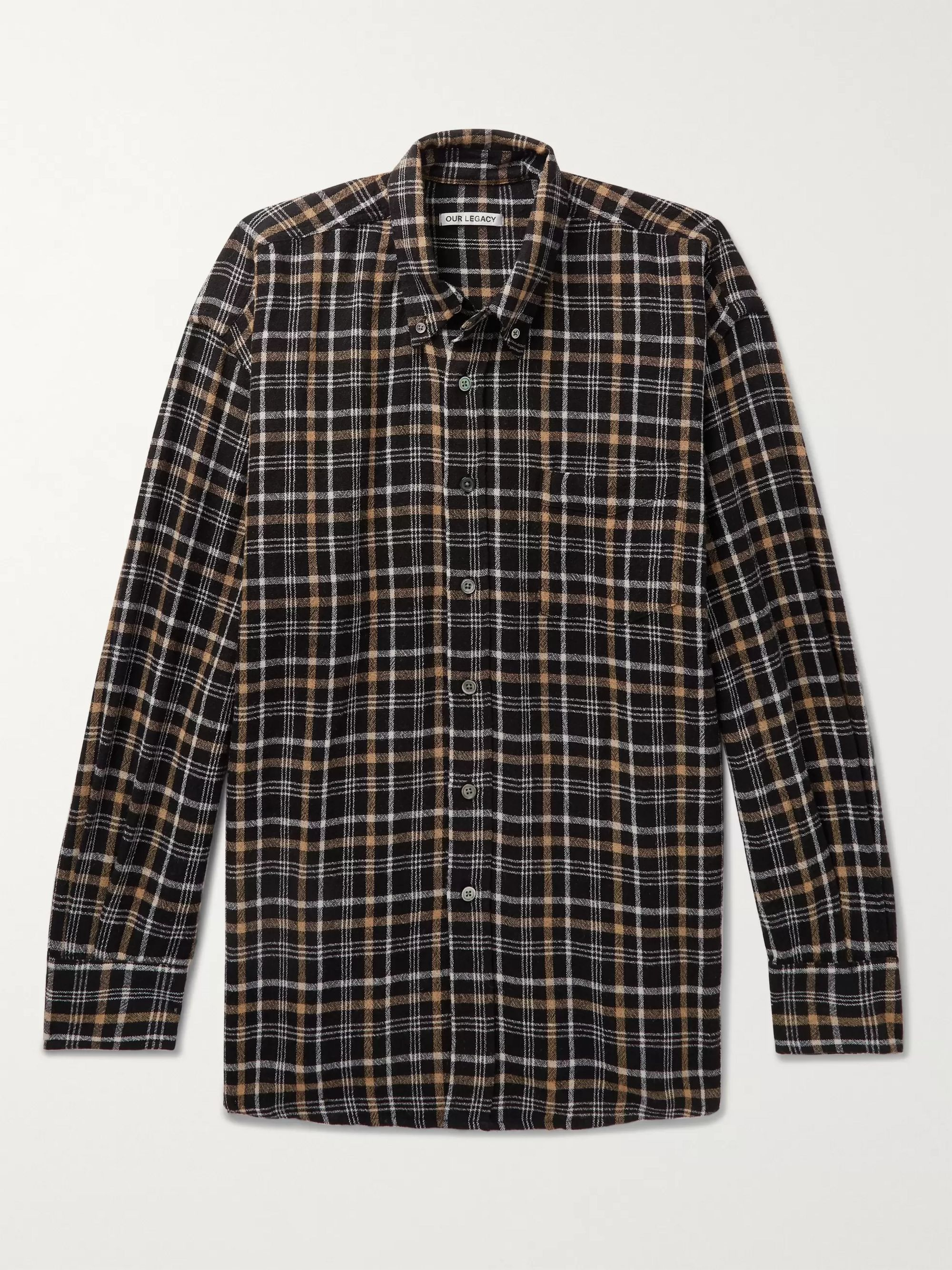 Button Down Collar Checked Woven Shirt by Our Legacy