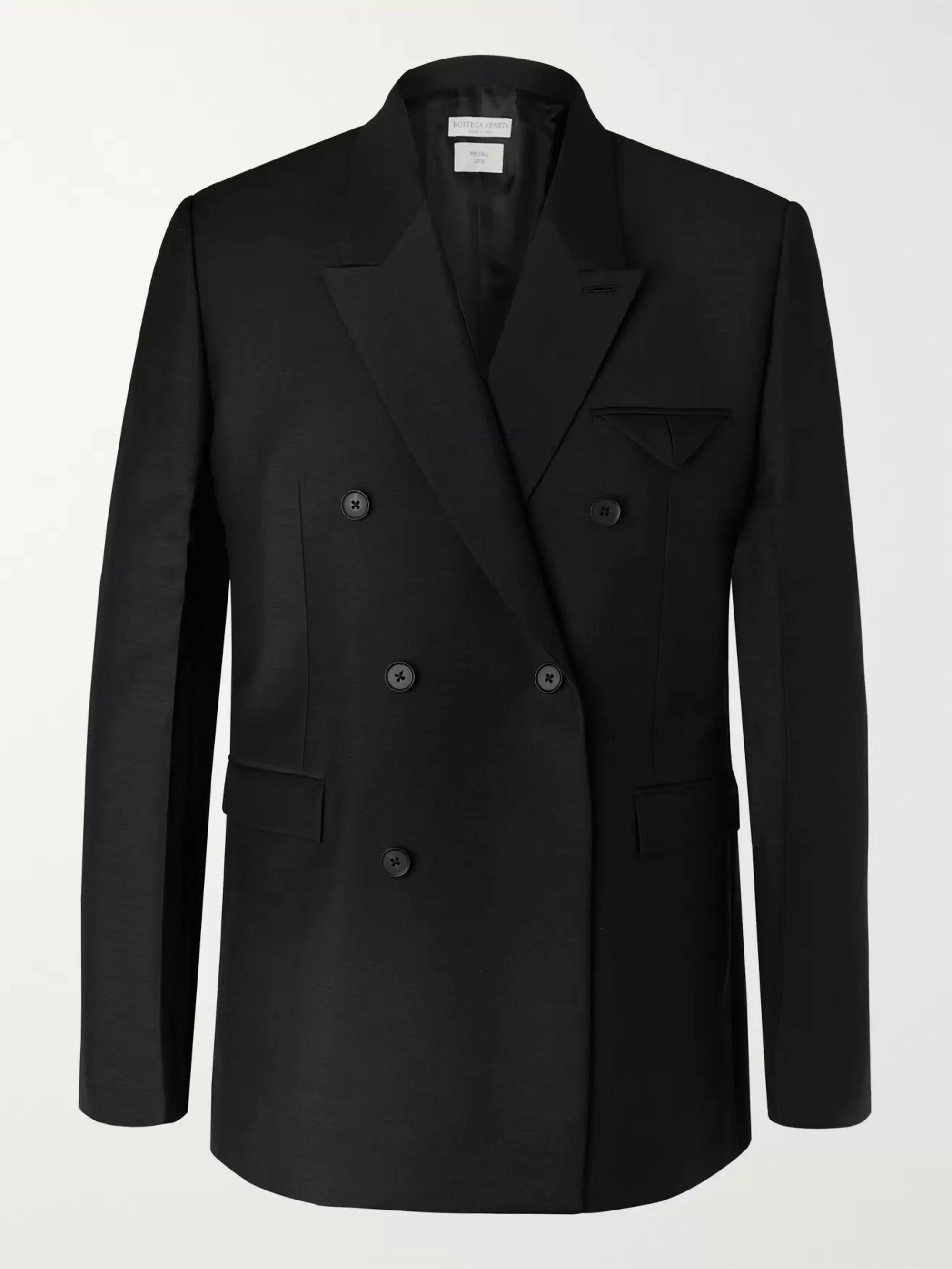 Bottega Veneta Black Double-Breasted Worsted Mohair and Wool-Blend Blazer