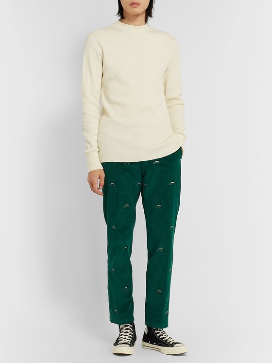 Aimé Leon Dore Tapered Embroidered Cotton-Corduroy Trousers