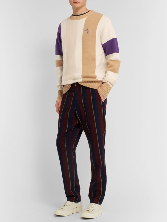 Aimé Leon Dore Logo-Embroidered Colour-Block Wool-Blend Sweater