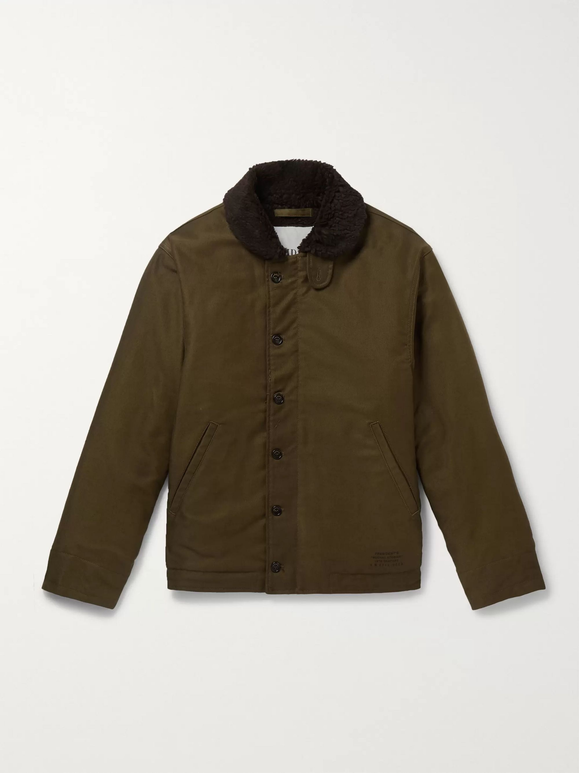 President's Faux Shearling-Lined Cotton-Canvas Jacket