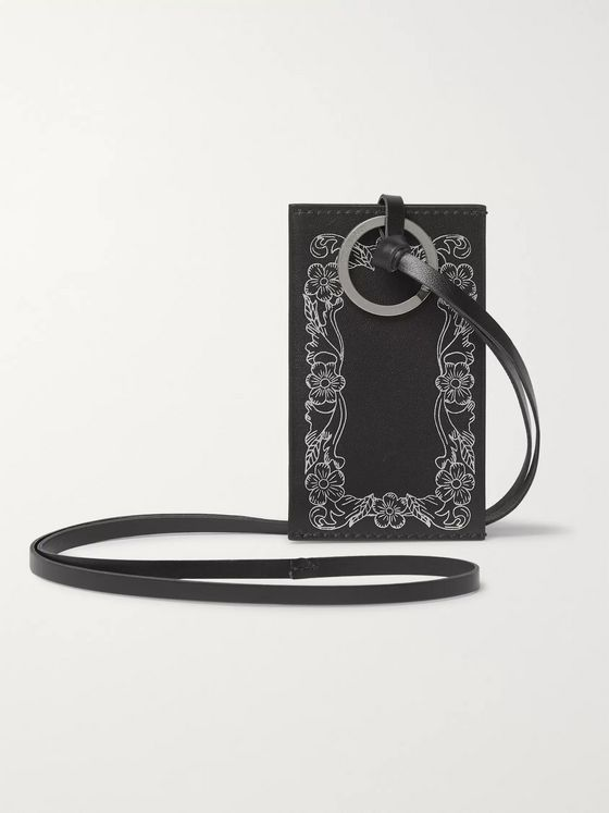 Our Legacy Floral-Print Leather Cardholder with Lanyard