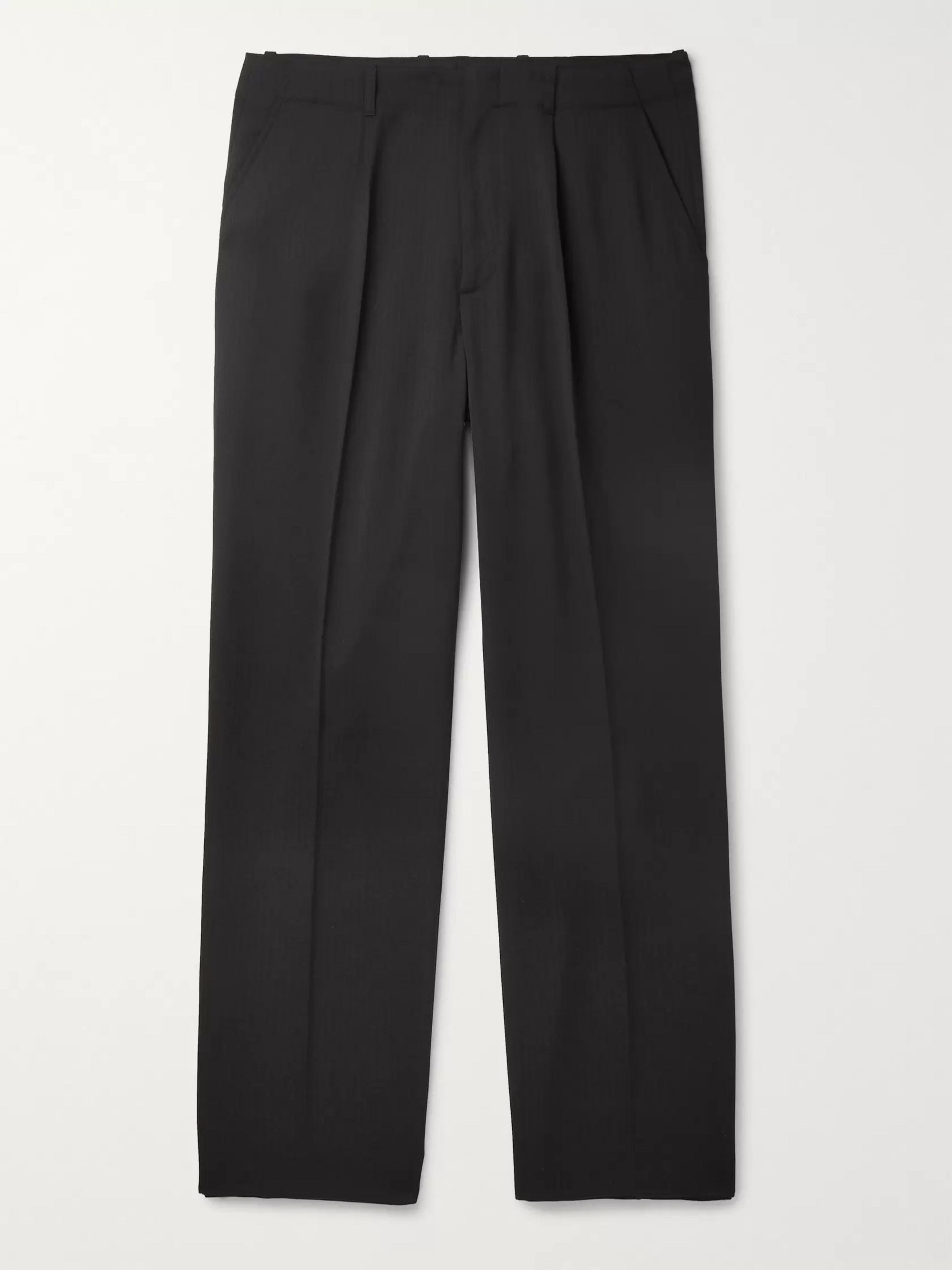 Our Legacy Black Borrowed Wide-Leg Herringbone Woven Trousers