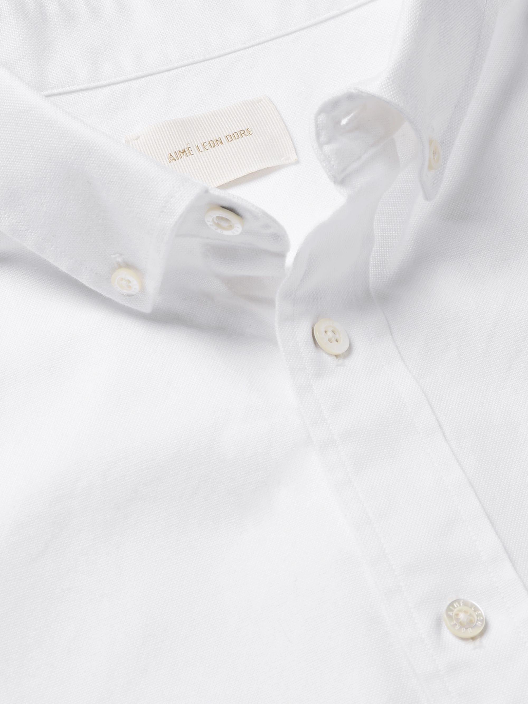 Aimé Leon Dore Button-Down Collar Logo-Appliquéd Cotton Oxford Shirt
