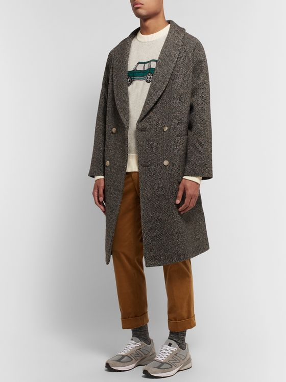 Aimé Leon Dore Shawl-Collar Belted Double-Breasted Wool-Jacquard Coat