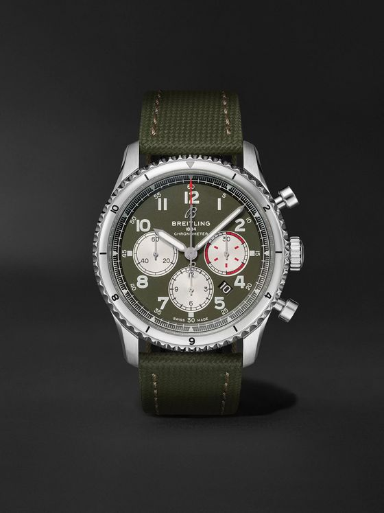 Breitling Aviator 8 B01 Curtiss Warhawk Automatic Chronograph 43mm Stainless Steel and Canvas Watch, Ref. No. AB01192A1L1X2