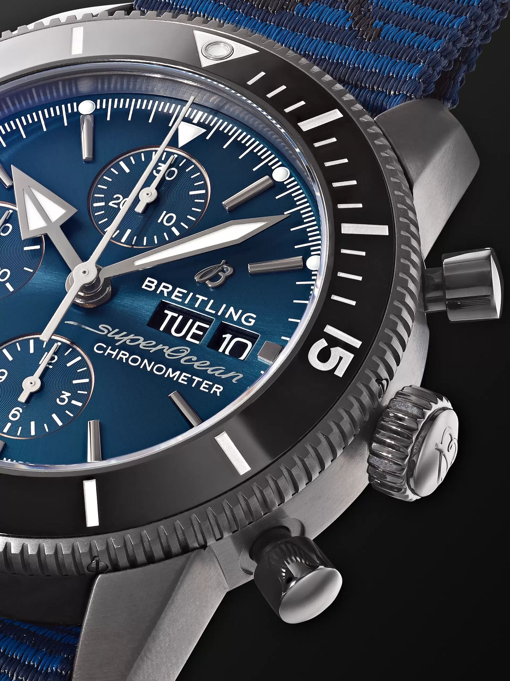 Breitling + Outerknown Superocean Heritage Automatic Chronometer 44mm DLC-Coated Stainless Steel and NATO Watch, Ref. No. M133132A1C1W1