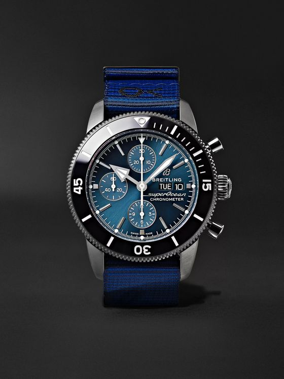 Breitling + Outerknown Superocean Heritage Chronometer 44mm DLC-Coated Stainless Steel and NATO Watch, Ref. No. M133132A1C1W1