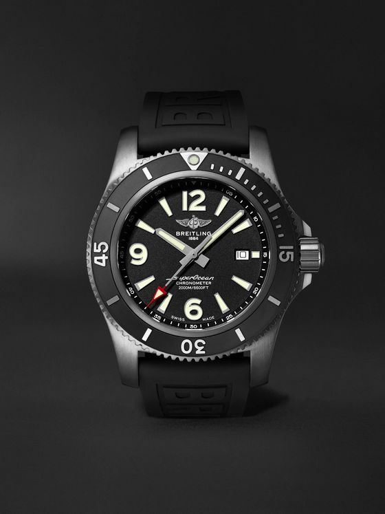 Breitling Superocean Automatic Chronometer 46mm DLC-Coated Stainless Steel and Rubber Watch, Ref. No. M17368B71B1S2