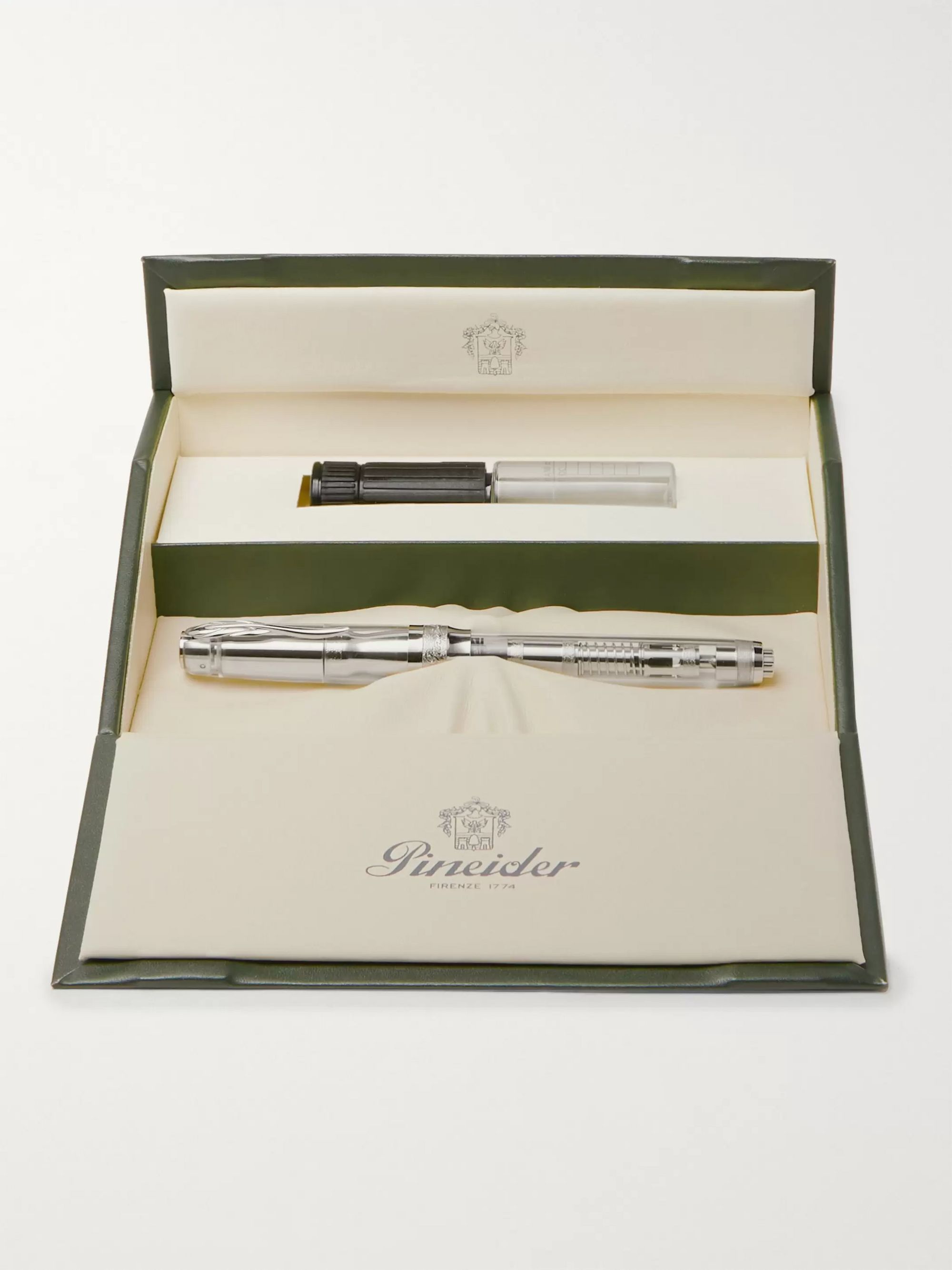 Pineider Mystery Filler Rhodium-Plated and Resin Demonstrator Fountain Pen