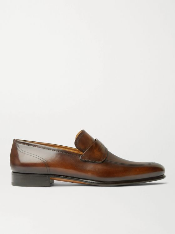 BERLUTI Cuir Brulé Venezia Leather Penny Loafers