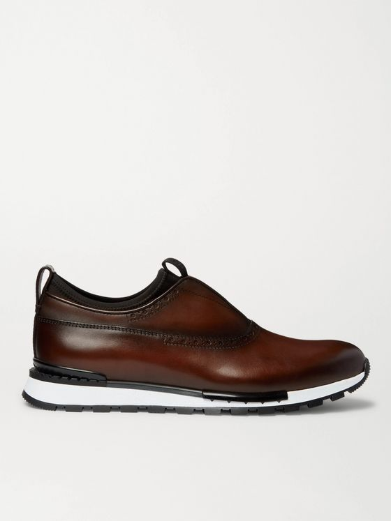 Berluti Fast Track Neoprene-Trimmed Venezia Leather Slip-On Sneakers