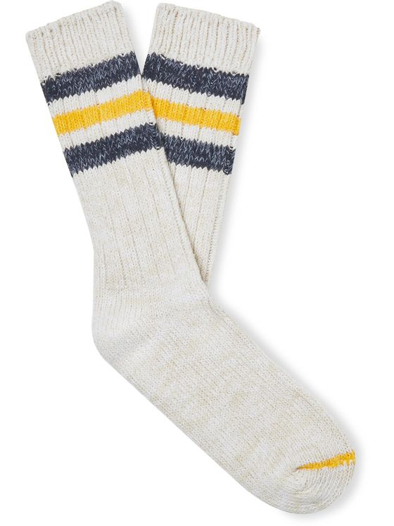 Thunders Love Outsiders Striped Ribbed Recycled Cotton-Blend Socks